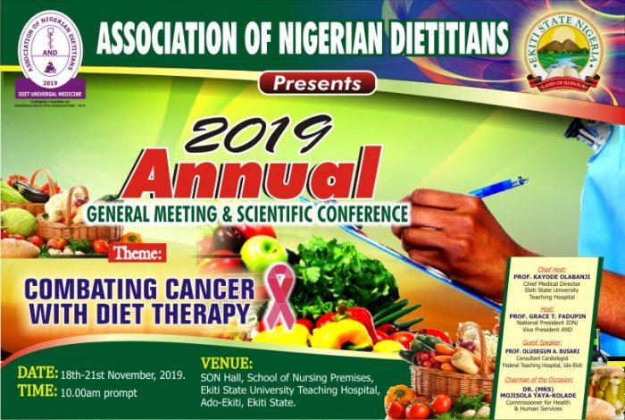 Nigerian Dietitians Scientific Conference - EKITI 2019 Date: 18th - 21st November, 2019 Venue: SON Hall, School of Nursing Premises, Ekiti State University Teaching Hospital (EKSUTH)